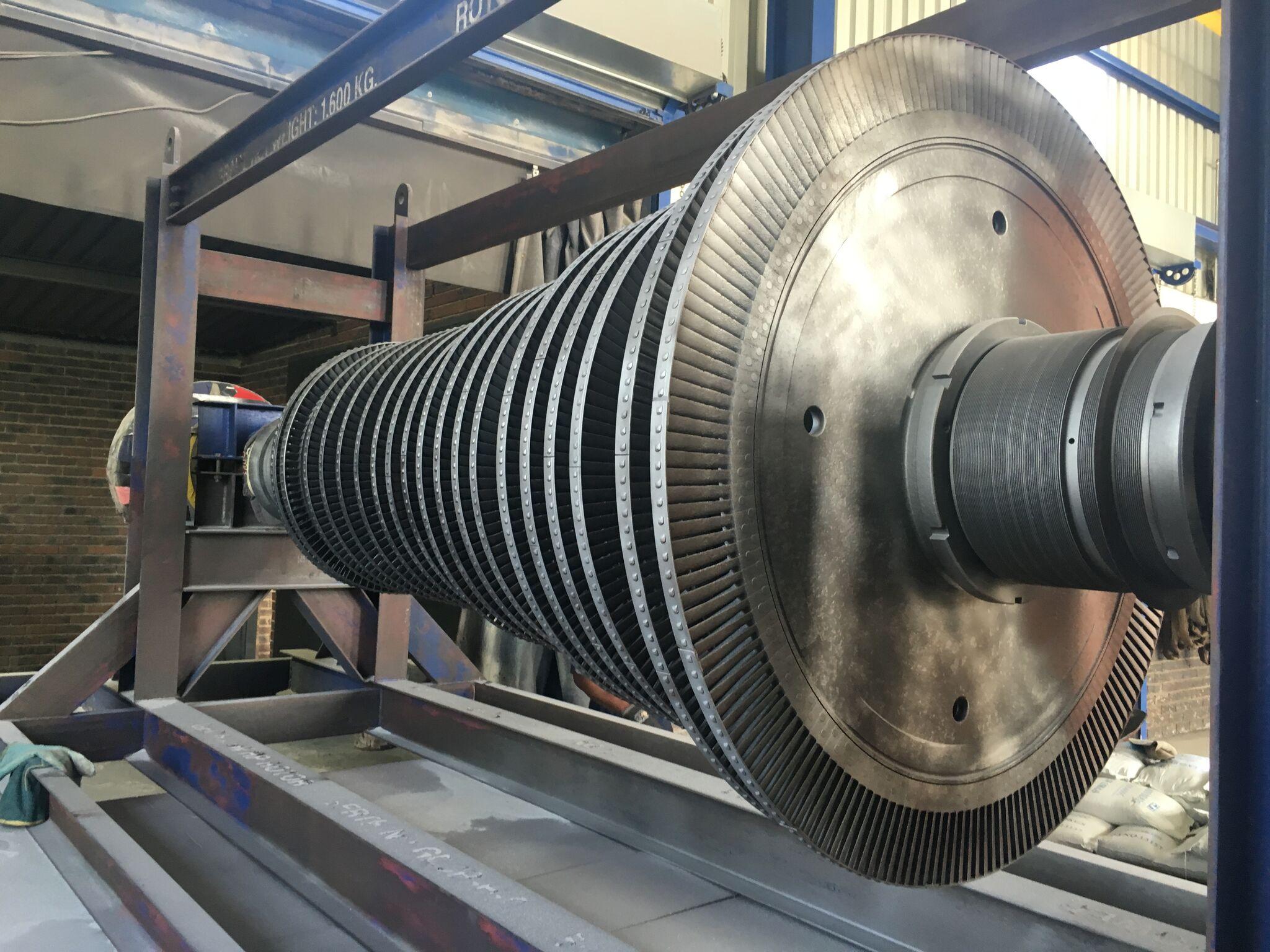 Glass bead blasting turbine rotor